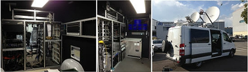 Outside broadcast trucks for satellite news gathering in Switzerland and France.