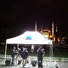 Night-time shot of live TV transmission using satellite SNG uplink in Istanbul