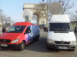 BG Television's two SNG trucks in Paris