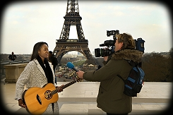 BG_TV cameraman with LiveU cellular bonding solution at the Eiffel Tower.