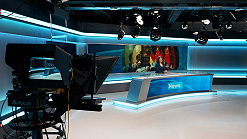 News broadcast studio in central London for live transmissions.