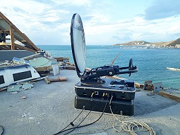 Eversat SNG flyaway antenna in the Caribbean.