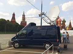 Flycom offers SNG truck satellite uplink services in Moscow, Russia.
