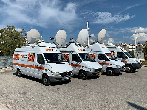 SNG satellite uplink trucks in Greece and Cyprus from INA.