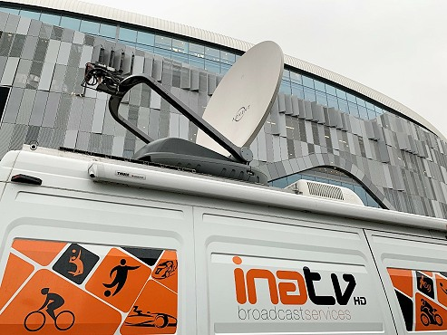 SNG satellite broadcast truck in Athens Greece: INA