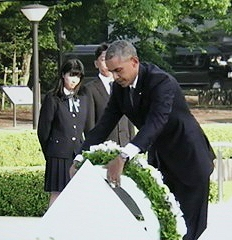 President Obama lays a wreath at Hiroshima.