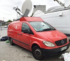 New TR offers SNG satellite truck transmission services in Paris and France.