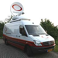 Newslive SNG satellite truck in Holland and Belgium.