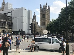 Newsplash's IP SNG truck outside Houses of Parliament in London.