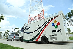PNN TV's Outside Broadcast (OB) van in Phnom Penh, Cambodia.