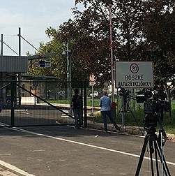 Filming on the Hungarian-Serbian border.