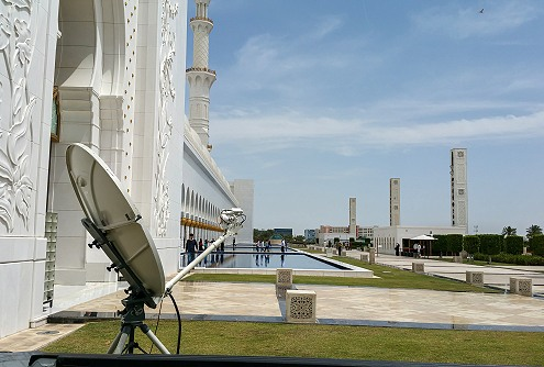 SNG Broadcast Services: Uplinking at Abu Dhabi Mosque.
