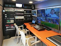 Interior of SNG satellite truck, Turkey.