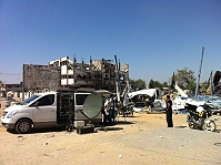 DSNG satellite truck for live transmission production from Gaza.