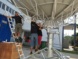 Satellite uplinking by Globecase at the SEA Games in Singapore.