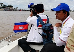 TVK Cambodia camera crew uses LiveU video transmission unit.